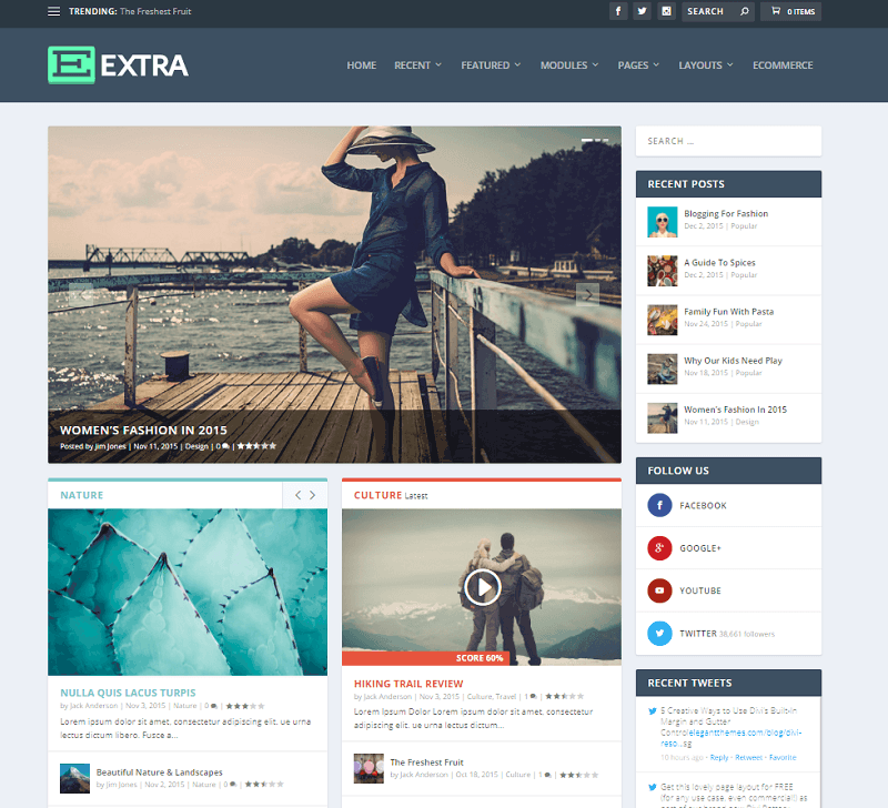 Elegant Themes Extra theme example homepage