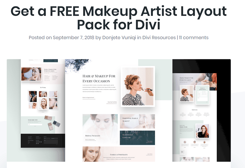 Elegant Themes wordpress themes - layout pack for makeup artists